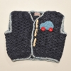 Crocheted Sleeveless Jersey with Car Detail
