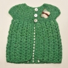 Crocheted Green Jersey with Butterfly Detail